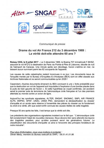 20170706 CP intersyndical Drame vol AF212 du 3 decembre 1969
