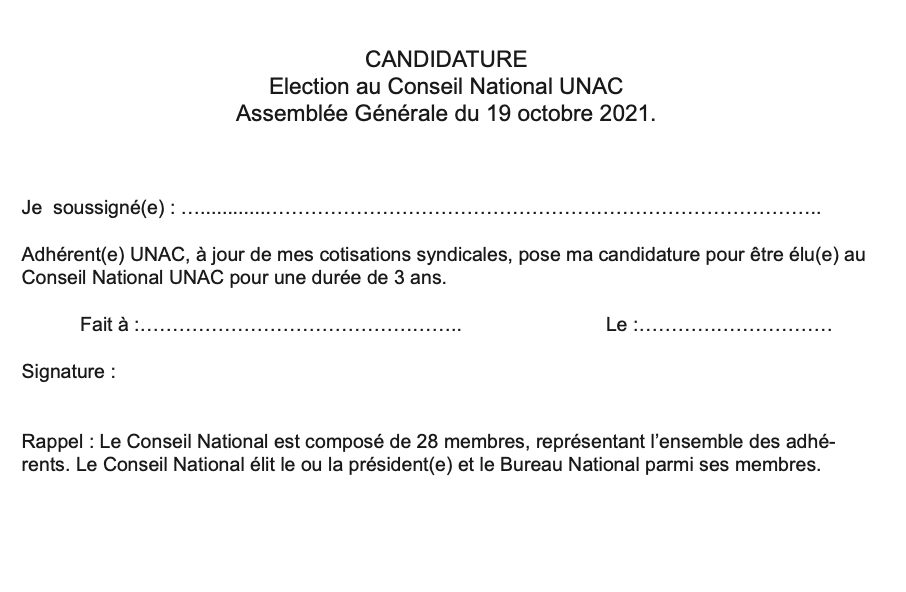 Candidature AG191021